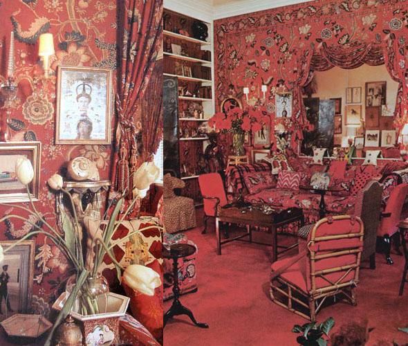 Interiors red room 3 pattern people - Introir dijane ...